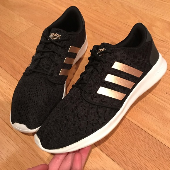 Adidas Black Lace and Rose Gold Sneakers